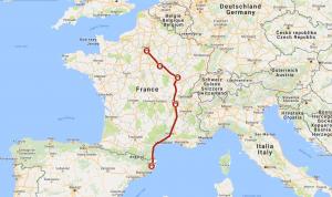 """Dette kartet viser """"en bakvei"""" gjennom Frankrike som det kan være lurt å velge når en reiser med interrailbillett."""