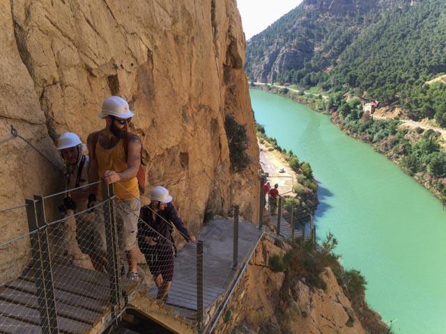 Mange luftige partier langs Caminito de Rey og fin utsikt til Guadalahorce-elven.