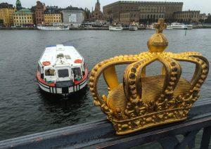 Vi tok toget fra Oslo S og var på Skeppsholmsbron i Stockholm før lunsj.