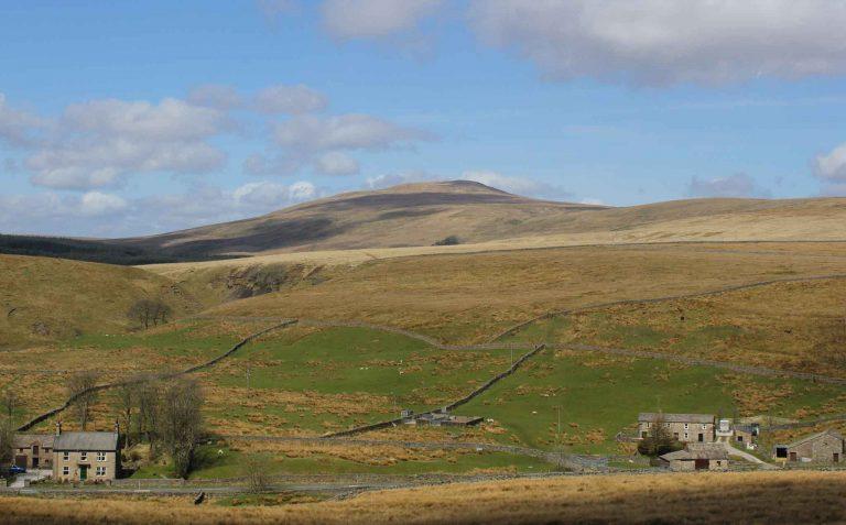 Utsikt fra the Settle-Carlislie-line, en to timer lang togtur gjennom Yorkshire Dales nasjonalpark.