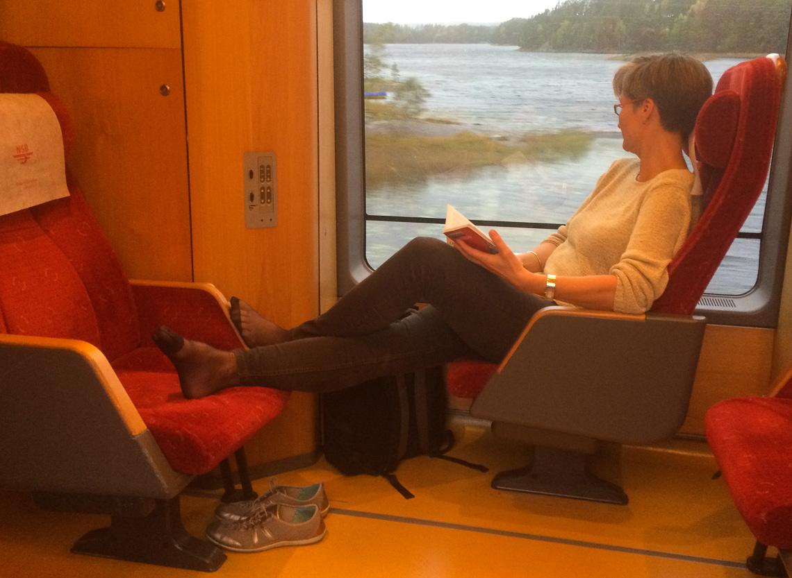 Vår beste lesekrok! Morgentoget fra Oslo til Gøteborg.
