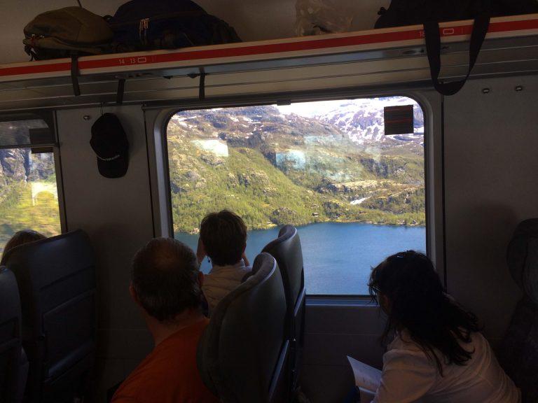 Vi er ombord på Bergensbanen og nærmer oss Myrdal, med overgang til Flåmsbanen.