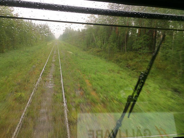 Utsikt fra lokomotivet på Inlandsbanan.