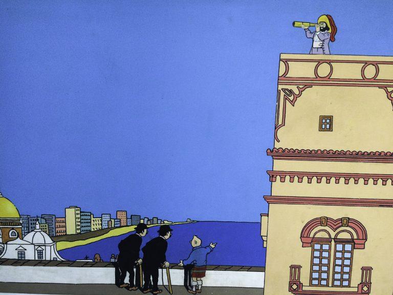 Tintin har også vært her. Bildet henger i Torre Tavira.