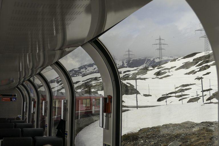 På vei inn i det høyeste partiet av Berniina Express-ruten.