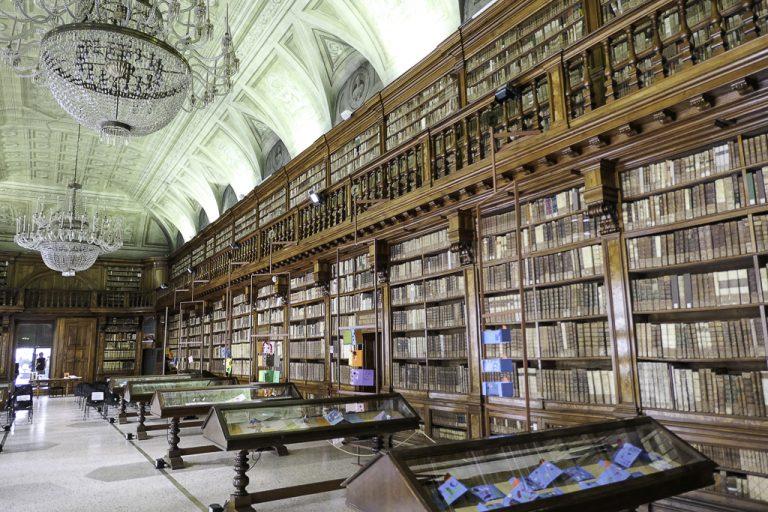 En fin (og gratis) severdighet: Biblioteket i kunstakademiet, Accadmia di Belle Arti. For å komme hit, går vi sammen med studentene gjennom korridorer og opp trapper i et bygg fra 1776.