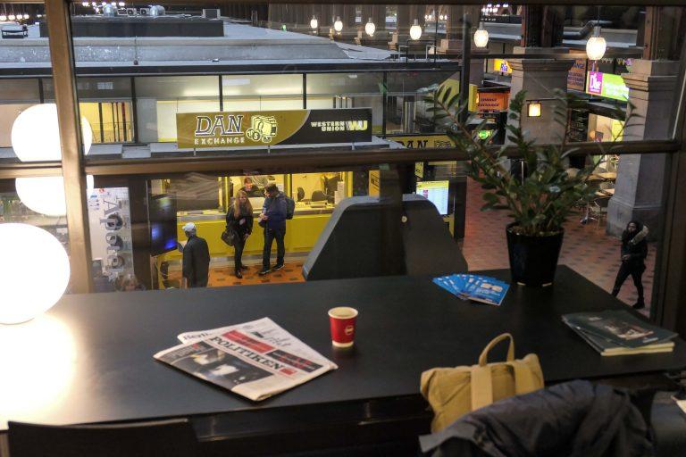 DSBs lounge på København Hovedbanegård er åpen for interrailere på 1. klasse.