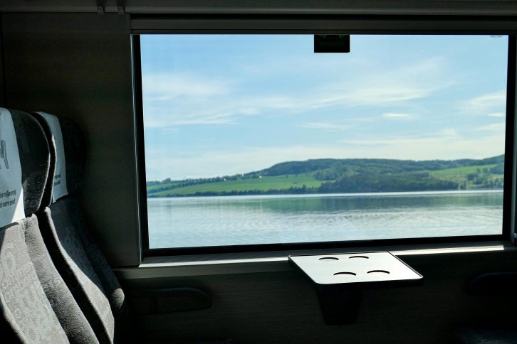 Utsikt fra togvinduet på en kort togferie Mjøsa rundt.