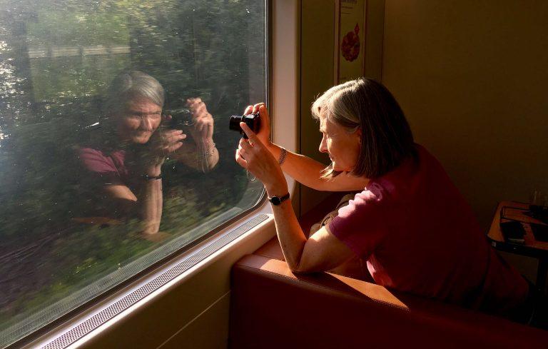 Alle som har prøvd å fotografere fra tog, vet at det er en tålmodighetsprøve. Mye kratt!