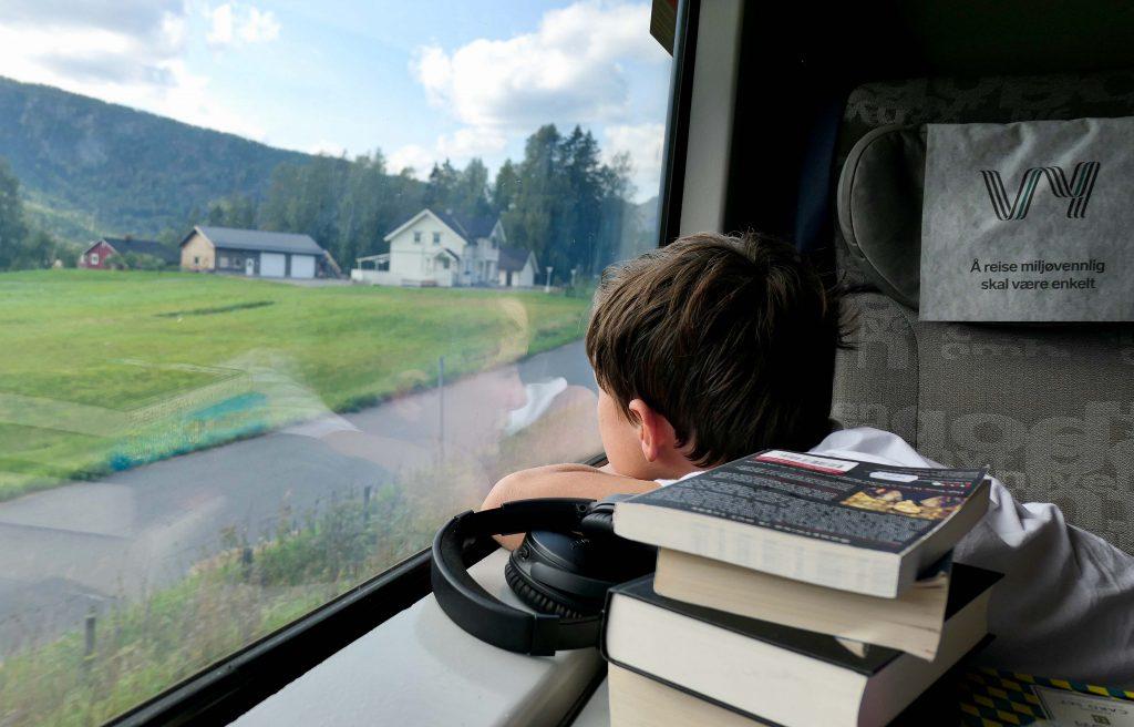 Ung passasjer på et fjerntog i Norge. Han har med seg bøker og podkaster, men ser likevel ut av vinduet.