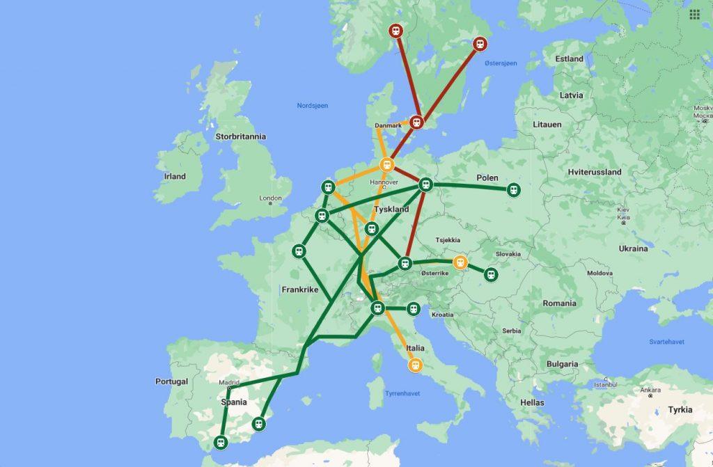 Internasjonale togreiser. Kartet viser planlagte TEE 2.0-ruter i Europa.